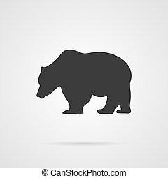 Vector Gray Silhouette of Bear