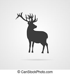 Vector Gray Silhouette of Deer. Element for World...