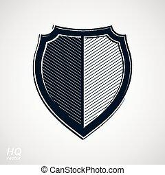 Vector grayscale defense shield, protection design graphic ...