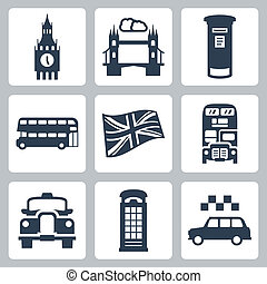 Vector Great Britain, London icons set