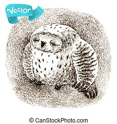 Vector Great Grey Owl Sleeping In a Hollow