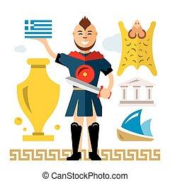 Vector Greece Concept. Flat style colorful Cartoon...
