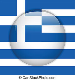 Greece Flag Glossy Button