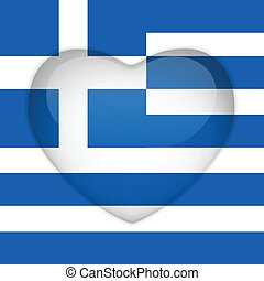 Greece Flag Heart Glossy Button