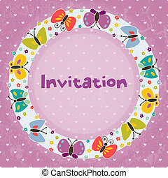 Invitation card for children's parties, birthday, and other events. Grunge effect can be removed. EPS 10 vector illustration