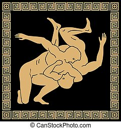 Vector Greek drawing. - Greek style drawing. Naked running...
