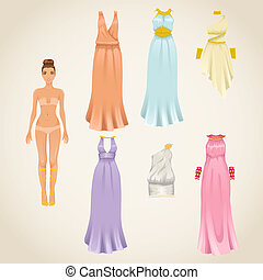 Vector greek dresses - Vector dress-up paper doll model with...