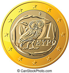 Greek money gold coin euro with the image of an owl - the emblem of Pallas Athena, a symbol of wisdom and the olive branch