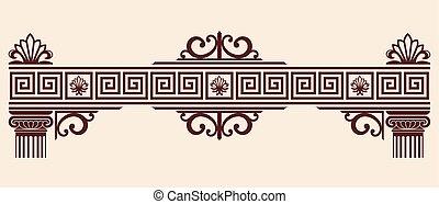 Vector Greek ornament. Set of vintage national graphic...