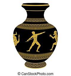 Vector Greek vase. - Ancient Greek vase depicting national...