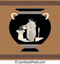 Vector Greek vase. - Vector vintage Greek vase with national...