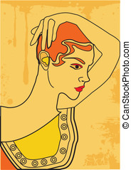 vector greek woman portrait, retro