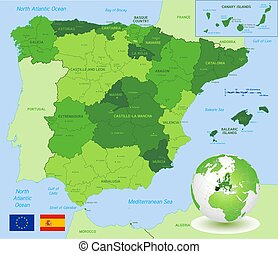Vector Green Administrative Map of Spain