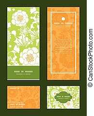 Vector green and golden garden silhouettes vertical frame...