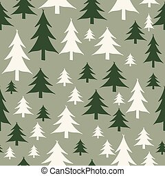 Green and white christmas trees seamless pattern