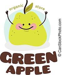 Vector green apple mascot logo.