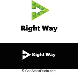 Vector green arrow in triangle negative space logotype