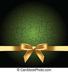 green background with gold bow