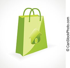 green bag with ecology symbol