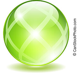 Vector green ball isolated on white