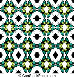 Vector Green Black Butterfly Tribal Seamless Pattern