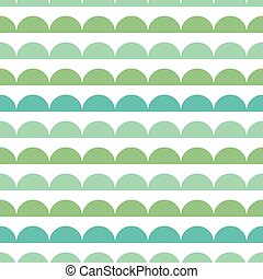Vector Green Blue Scallops Stripes Seamless repeat Pattern Geometric Design. Great for nursery wallpaper, nautical invitations, fabric, abstract background.