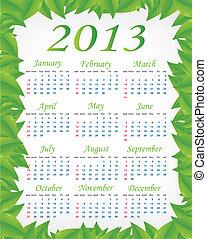 Vector green calendar (week starts on Sunday)