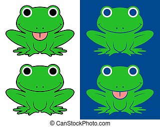 Vector green cartoon frogs sticking out tongue