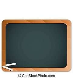 Green Chalk Blackboard with Wooden Border