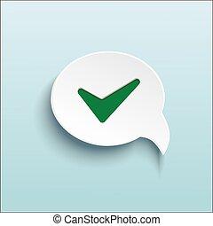 Vector green check mark on speech bubble