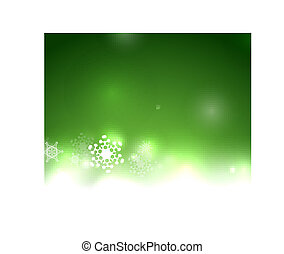 Vector green Christmas card bokeh snowflakes - Vector green...