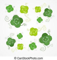 Vector Green Clover Leaves