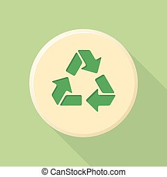 vector green color flat design recycle sign icon with shadow