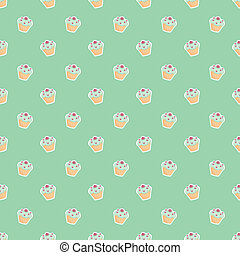 Vector green cupcake background