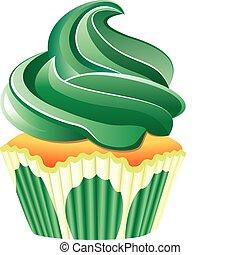 vector green cupcake