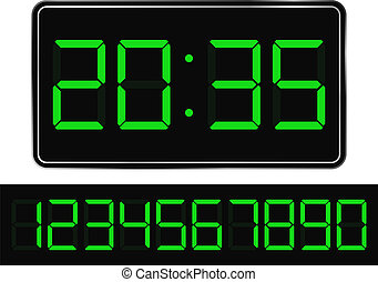 Digital Clock - Vector Green Digital Clock