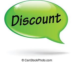 Vector green discount speech bubble