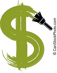 Vector green dollar sign created with paintbrush, simple...