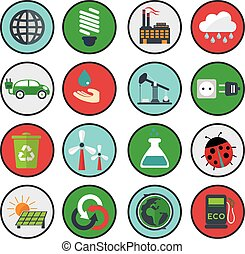 Vector green eco icons, ecology