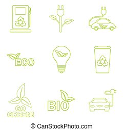Vector green eco icons set.
