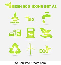 Vector green eco icons set.