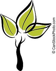 Vector green eco tree icon.