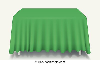 Vector green Empty Rectangular Table with Tablecloth Isolated.