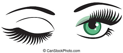 winking - vector green eyes winking