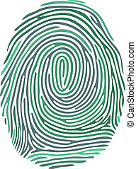 Vector green fingerprint on white background