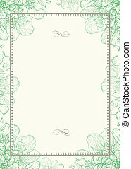 Vector Green Floral Background and Ornamental Frame