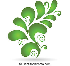 Vector green floral design decoration element