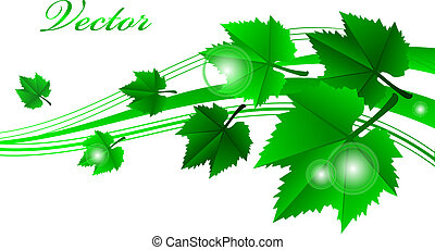 Vector green frame with leaves