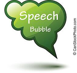 vector green glossy speech bubble