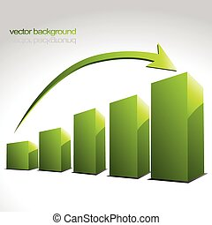 vector green graph bars